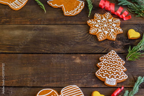 Christmas Homemade Gingerbread Cookies On Wooden Table Buy Photos