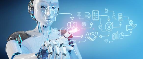 White humanoid creating artificial intelligence interface © sdecoret
