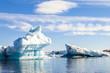 jokulsarlon blue lagoon panorama with icebergs