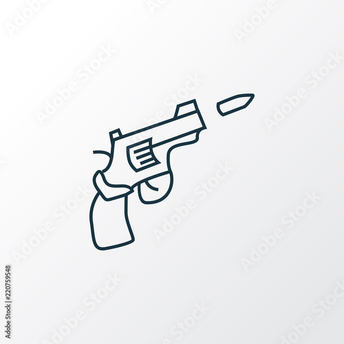 Gun Icon Line Symbol Premium Quality Isolated Pistol Element In