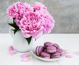 Pink peony with macarons - 220761127