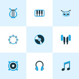 Music icons colored set with music, earphone, timbrel and other speaker  elements. Isolated  illustration music icons. - 220761932