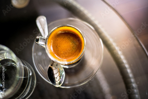 espresso coffee, top view of coffee cup on table