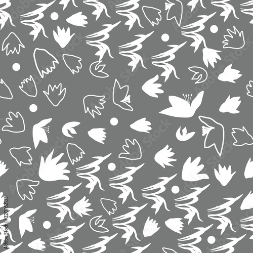 Fototapeta Vector floral seamless pattern with hand drawn scilla or snowdrop flowers and leaves. Modern decorative background in pastel colors.
