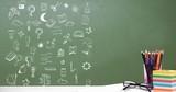 Education drawing on blackboard for school - 220768557