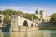 Leinwanddruck Bild - Avignon city with the ancient broken medieval bridge of Saint Benezet