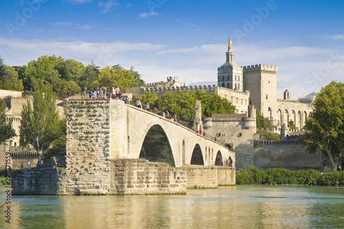 Leinwanddruck Bild Avignon city with the ancient broken medieval bridge of Saint Benezet