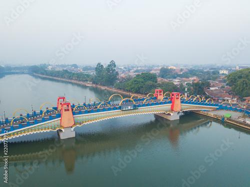 View of Berendeng Bridge at Tangerang, Indonesia in the morning.