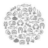 round design element with seafood icons - 220778345