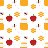 Vector seamless pattern background for jewish new year, Rosh Hashanah with honey in jar and honeycombs, apples and bees. - 220779114