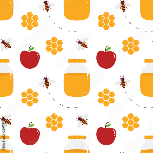 vector seamless pattern background for jewish new year rosh hashanah with honey in jar and