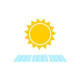 Solar Panel With Sun Icon, Simple vector icon - 220780719