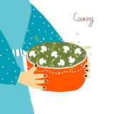 Woman holding a pot with food. Vector hand drawn illustration. - 220783708