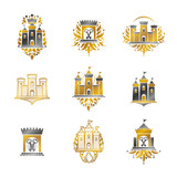 Ancient Fortresses emblems set. Heraldic Coat of Arms, vintage vector logos collection. - 220786342