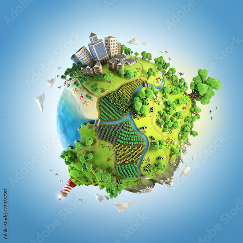 Naklejka globe concept showing a green, peaceful and idyllic life style in the world in a cartoon style