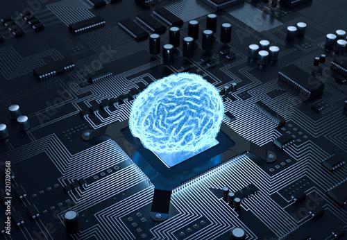 Leinwandbild Motiv 3D Illustration Gehirn Computer