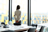 Back view portrait of elegant businesswoman standing by window in conference room, copy space - 220790952