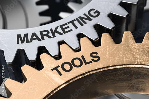 3D Ilustracja Narzędzi Marketingowych Gears