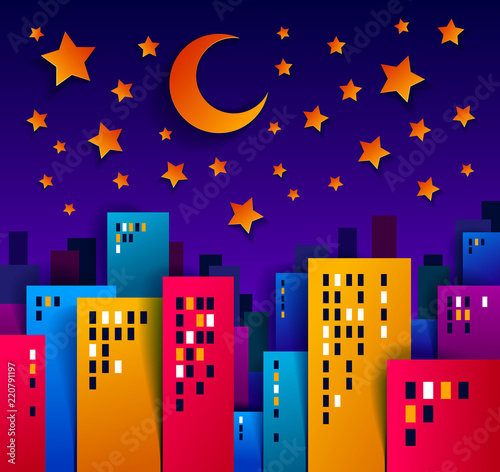 Poster Cityscape in the night with moon and stars cartoon vector illustration in paper cut kids application style, high city buildings real property houses midnight time.