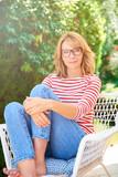 Woman enjoy relaxing outdoor in the garden - 220791557