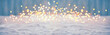 Leinwandbild Motiv Abstract magic winter landscape with snow and golden bokeh lights - Banner, Panorama
