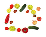 Fresh vegetables on a white background. Round composition of cucumber, tomato, onion, red pepper, squash. - 220794953