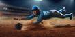 Baseball shortstop catches the ball on professional baseball stadium