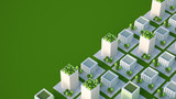 Model of the city with residential buildings..3d illustration, 3d rendering.