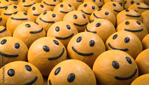 Leinwanddruck Bild 3D Illustration glückliche Gesichte