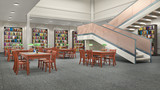 Reading hall interior. 3D illustration - 220812788
