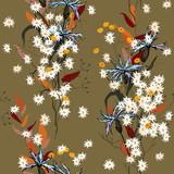 Vintage background. Wallpaper.  Hand drawn. Vector illustration. Botanical motifs. Isolated seamless flower pattern. - 220818555