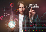 The concept of business, technology, the Internet and the network. A young entrepreneur working on a virtual screen of the future and sees the inscription: Digital Marketing - 220819904