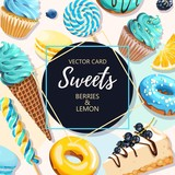 Vector card with blue and yellow sweets - 220824342