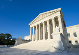 Neoclassical columned entrance portico to the US Supreme Court building in Washington DC - 220826301
