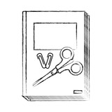 grunge book with clips and scissors school tools - 220830709