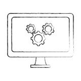 grunge computer technology with gears process industry - 220830738