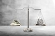Justice Scales with money and alarm clock. Justice concept