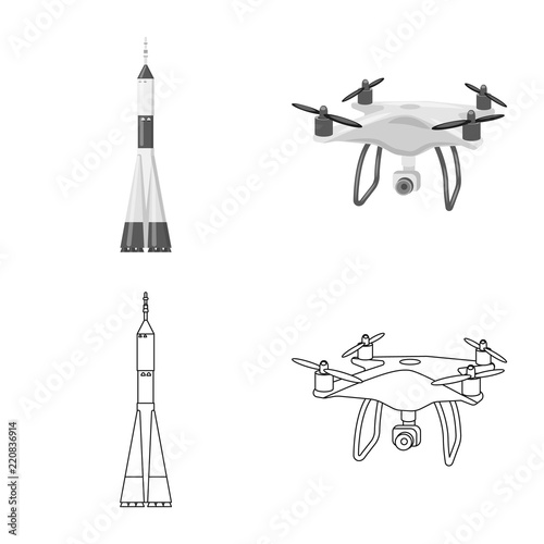 Isolated object of plane and transport sign. Set of plane and sky vector icon for stock.