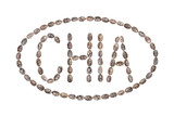 The word Chia written with chia seeds inside an ellipse and isolated on white background - 220838104