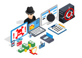 Hacking clip art. Isometric clip art of hacking concept vector icons for web isolated on white background - 220838356