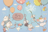 Collection with cute birthday mouses with balloons - 220841725