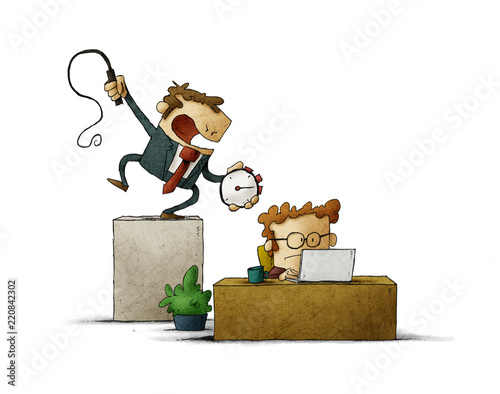 Leinwandbild Motiv Business man holds a stopwatch and whip in hand, and a businessman works hard under him . Deadline time concept. Illustration. isolated