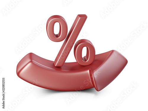 Big Red Percent Symbol On A Bending Arrow Bussines Growing Concept