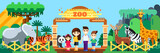 Happy family in zoo, vector flat style illustration. Weekend in park, leisure outdoor concept - 220865960