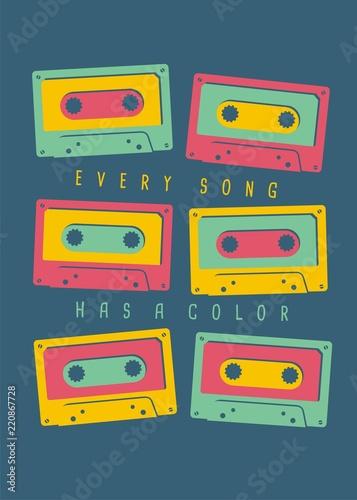 pomysl-na-t-shirt-muzyczny-kazda-piosenka-ma-kolorowy-kolorowy-szablon-koszulki-lub-plakatu-ilustracji-wektorowych-z-wielu-kolorowych-kaset