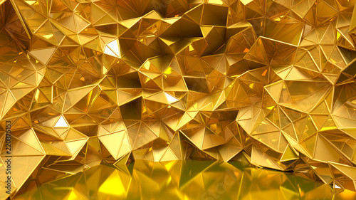 Festive golden background with triangles, bathroom, studio and sequins