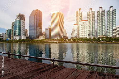 Leinwanddruck Bild Cityscape Bangkok city in Thailand skyline beautiful city in Bangkok Thailand tower river sunset