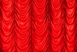 Red waving tulle curtain. Background photo texture - 220883792