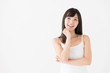 attractive asian woman thinking on white background