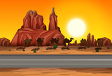 Desert sunset road scene - 220891107